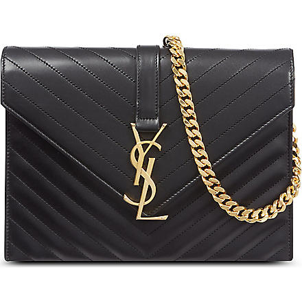 SAINT LAURENT Monogramme envelope satchel (Noir