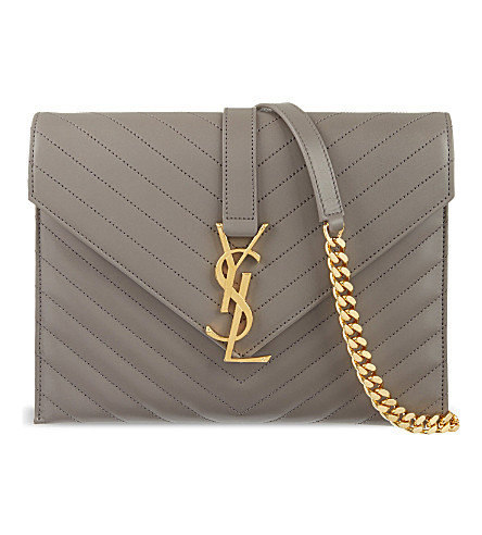 SAINT LAURENT Monogramme envelope shoulder bag (Fog