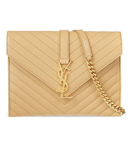 SAINT LAURENT Monogramme envelope satchel (Naturel