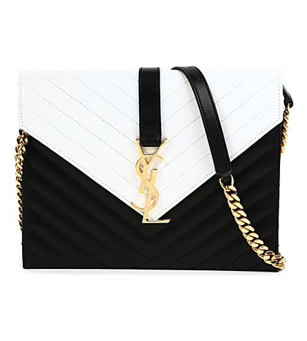 SAINT LAURENT Monogramme chain shoulder bag (Black/white
