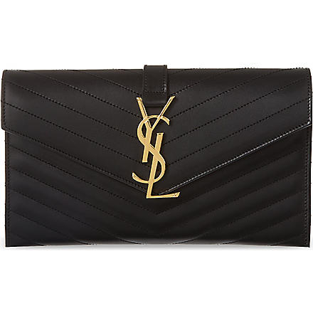 SAINT LAURENT Monogramme envelope clutch (Noir