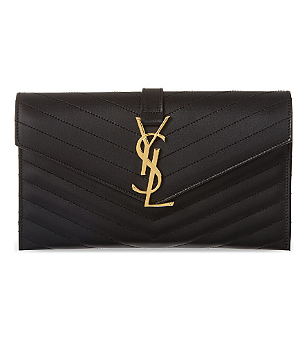 SAINT LAURENT Envelope clutch (Noir