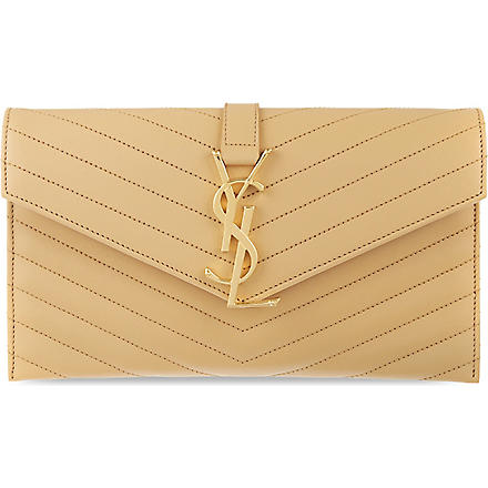 SAINT LAURENT Monogramme envelope clutch (Naturel