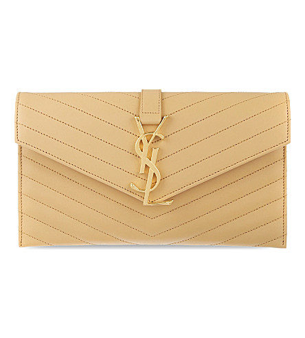 SAINT LAURENT Monogram quilted leather envelope clutch (Naturel