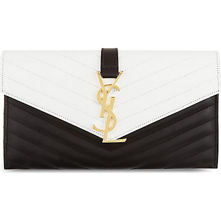 SAINT LAURENT Monogramme envelope clutch (Black/white