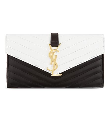 SAINT LAURENT Monogramme envelope clutch (Black/white