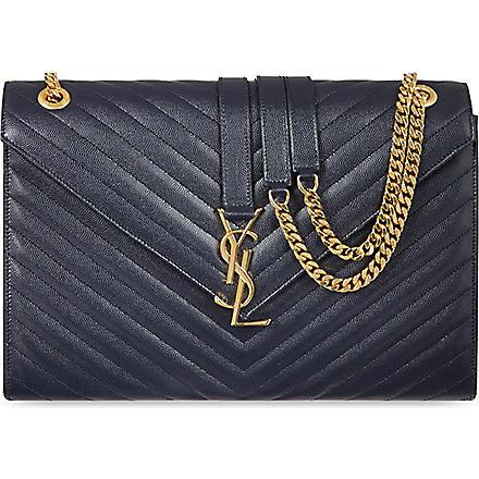 SAINT LAURENT Monogramme grained leather satchel (Marine