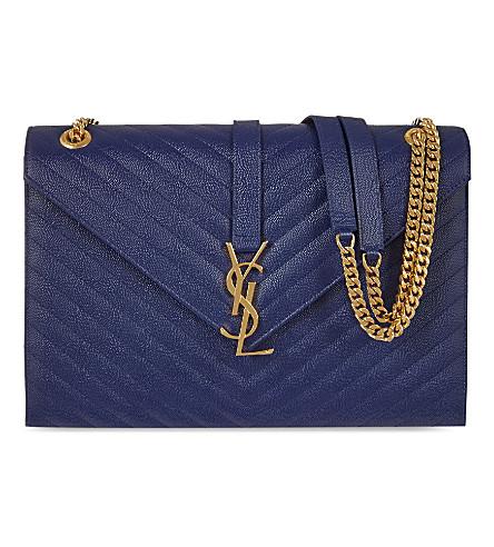 SAINT LAURENT Large envelope satchel (Blue