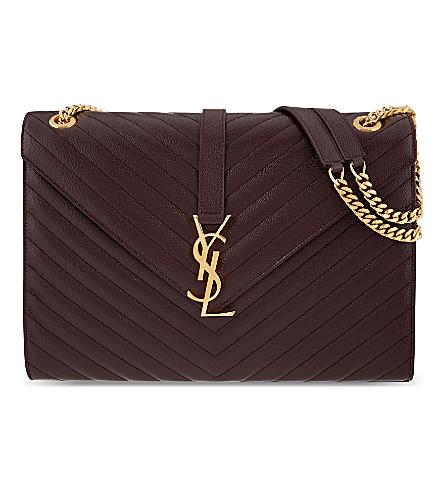 SAINT LAURENT Large envelope satchel (Bordeaux