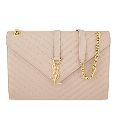 SAINT LAURENT Large envelope satchel (Pale blush