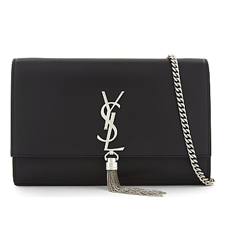 SAINT LAURENT Kate Tassel Monogram medium leather shoulder bag (Black/silver