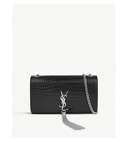 SAINT LAURENT Monogram croc-embossed leather satchel (Black