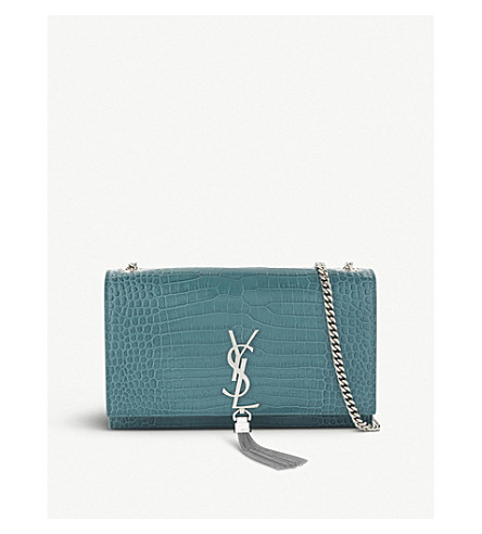 SAINT LAURENT Kate Monogram medium crocodile-embossed leather cross-body bag (Water+green