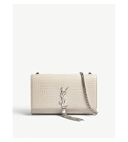 SAINT LAURENT Kate medium crocodile-embossed leather shoulder bag (Washed+light+pink