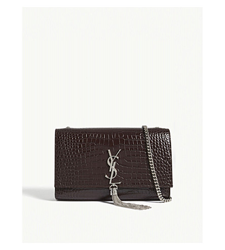 SAINT LAURENT Kate monogram medium crocodile-embossed leather shoulder bag (Black+tulip