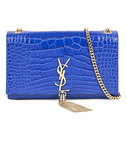 SAINT LAURENT Monogram alligator-leather shoulder bag (Bleu+majorelle