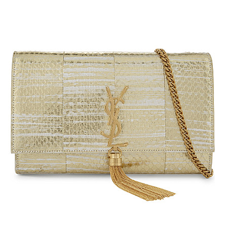 SAINT LAURENT Monogram Kate leather cross-body bag (Gold white