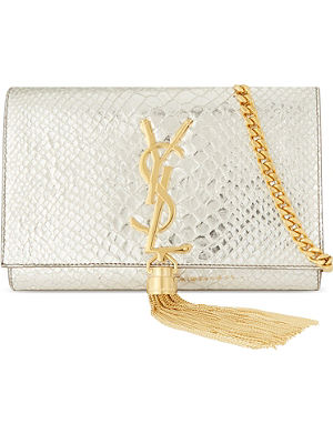 SAINT LAURENT Monogramme small python-embossed leather shoulder bag