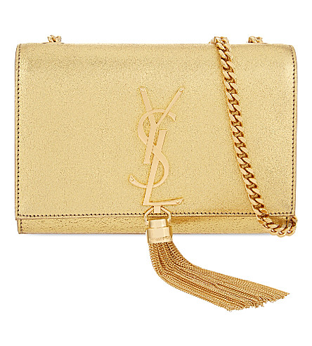 SAINT LAURENT Monogram small leather shoulder bag (Gold or