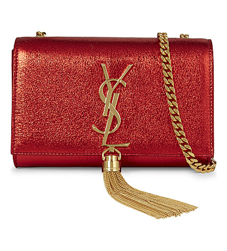 SAINT LAURENT Monogram small foil leather clutch (Rouge red metallic