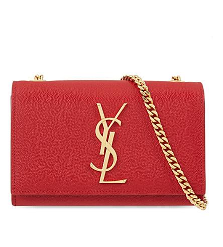 SAINT LAURENT Monogram small leather shoulder bag (Lipstick red