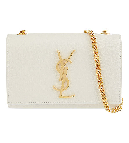 SAINT LAURENT Monogram small leather shoulder bag (White