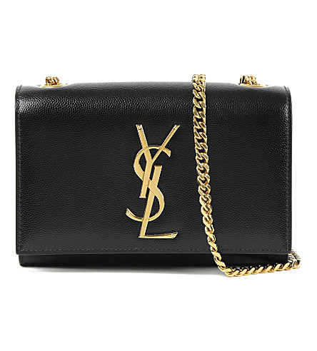 SAINT LAURENT Monogram small leather shoulder bag (Black