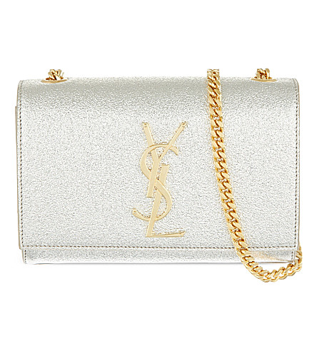 SAINT LAURENT Small metallic leather cross-body bag (Gold