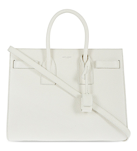 SAINT LAURENT Sac De Jour small grained leather tote (Off+white
