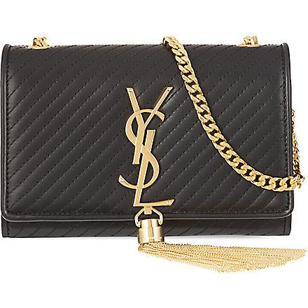 SAINT LAURENT Mongramme tassel small cross-body bag (Black