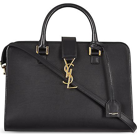 SAINT LAURENT Cabas small calfskin box bag (Black