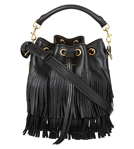 SAINT LAURENT Small bucket fringe leather bag (Black