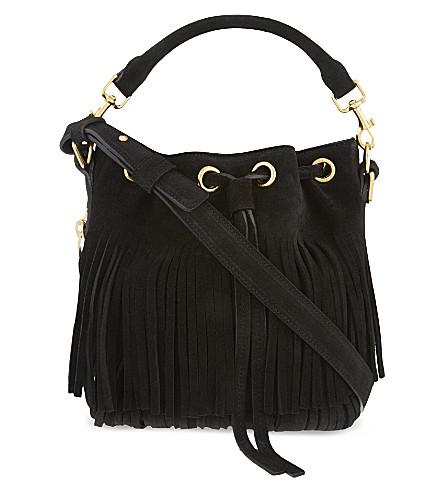 SAINT LAURENT Emmanuelle small fringed suede bucket bag (Black