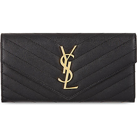 SAINT LAURENT Monogram quilt flap wallet (Black