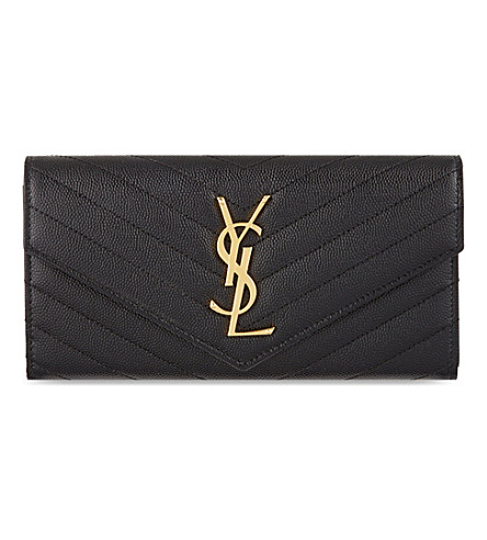 SAINT LAURENT Monogramme leather quilt-flap wallet (Black