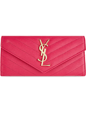SAINT LAURENT Monogramme quilt-flap leather wallet