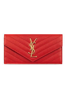 SAINT LAURENT Monogram quilt flap wallet
