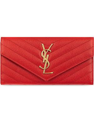 SAINT LAURENT Monogramme quilted leather flap wallet