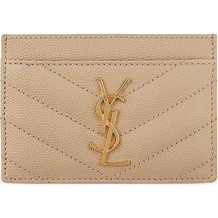 SAINT LAURENT Monogramme quilted card holder (Poudre