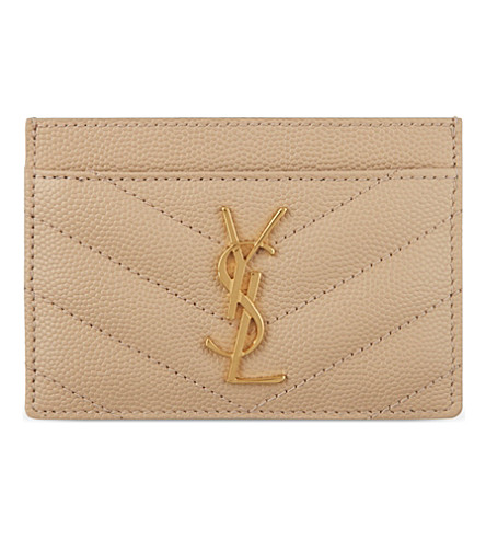 SAINT LAURENT Quilted leather card holder (Poudre