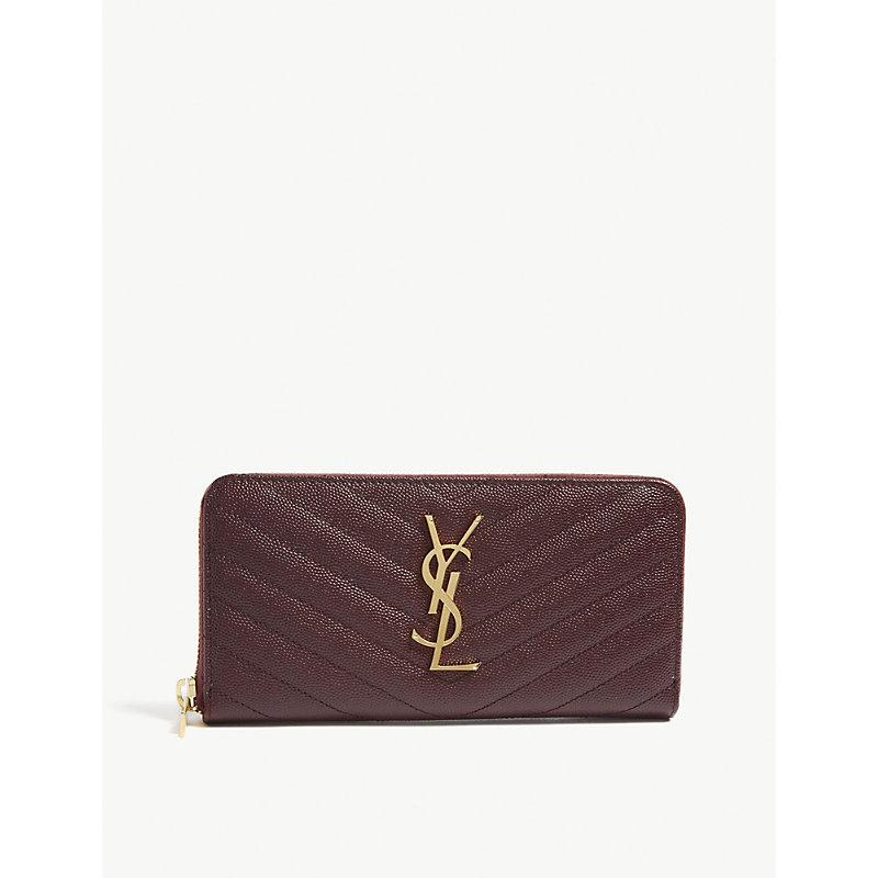 Monogram quilted leather zipper-around wallet