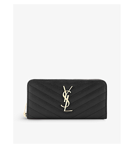 SAINT LAURENT Monogram quilted leather zip-around purse (Black