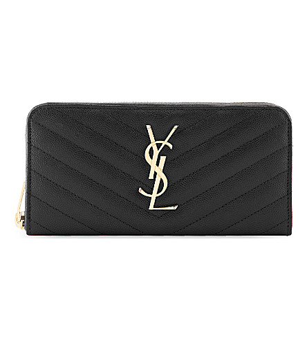SAINT LAURENT Monogram quilted leather zip-around purse (Nero
