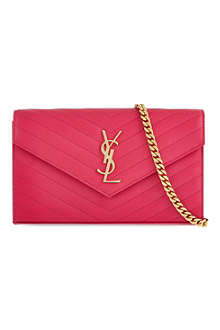 SAINT LAURENT Monogramme quilted chain leather wallet