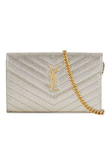 SAINT LAURENT Gold monogramme quilted evening bag