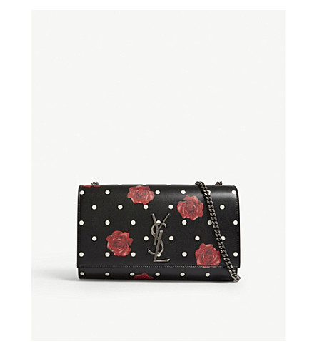 SAINT LAURENT Kate medium polka dot leather shoulder bag (Noir/black/red