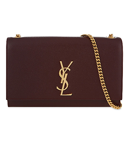 SAINT LAURENT Monogram medium leather shoulder bag (Bordeaux