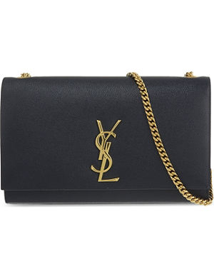 SAINT LAURENT Medium monogram chain leather clutch