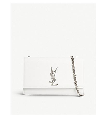 SAINT LAURENT Monogram Kate medium pebbled leather shoulder bag (White