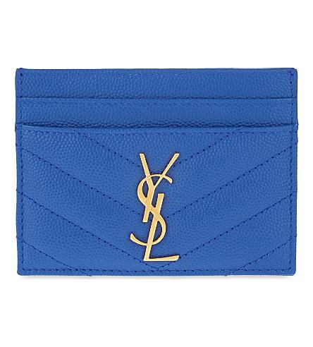SAINT LAURENT Monogram quilted leather card holder (Blue majorelle